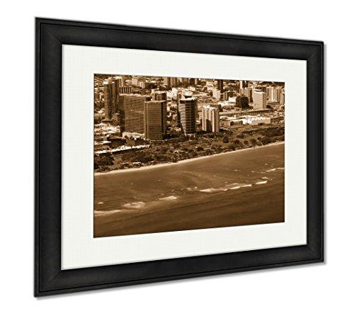 Ashley Framed Prints Aerial Of Ala Moana Beach Park Mall Condos And Cityscape Of H, Modern Room Accent Piece, Sepia, 34x40 (frame size), Black Frame, - Mall Ala Moana