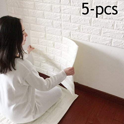 3D Brick Wall Stickers, PE Foam Self-adhesive Wallpaper Removable and Waterproof Art Wall Tiles for Bedroom Living Room Background TV Decor,5-pcs (23'' x 23'', white)