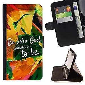 BullDog Case - FOR/Sony Xperia m55w Z3 Compact Mini / - / BE WHO GOD CALLED YOU TO BE /- Monedero de cuero de la PU Llevar cubierta de la caja con el ID Credit Card Slots Flip funda de cuer