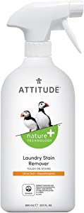ATTITUDE Laundry Stain Remover, Hypoallergenic & Safe Ingredients, Effective True Ecological Alternative Products, Citrus Zest, 27.1 fl oz