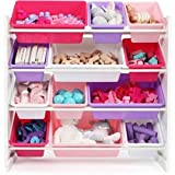 Great Removable Pink & Purple Toy Storage Organizer with 12 Plastic Bins