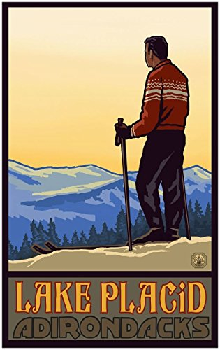 Lake Placid New York Skier Valley Travel Art Print Poster by Paul A. Lanquist (30