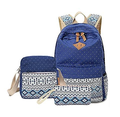 Angelwing Girls School Backpack Crossbody Bags For Women Travel Bags Bookbag Blue Ethnic 3pcs (Tag Junior Books Thomas)