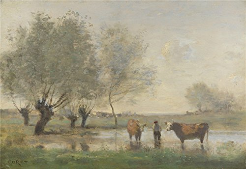 Oil Painting 'Jean Baptiste Camille Corot Cows In A Marshy Landscape' 24 x 35 inch / 61 x 89 cm , on High Definition HD canvas prints is for Gifts - Chicago Target Locations In