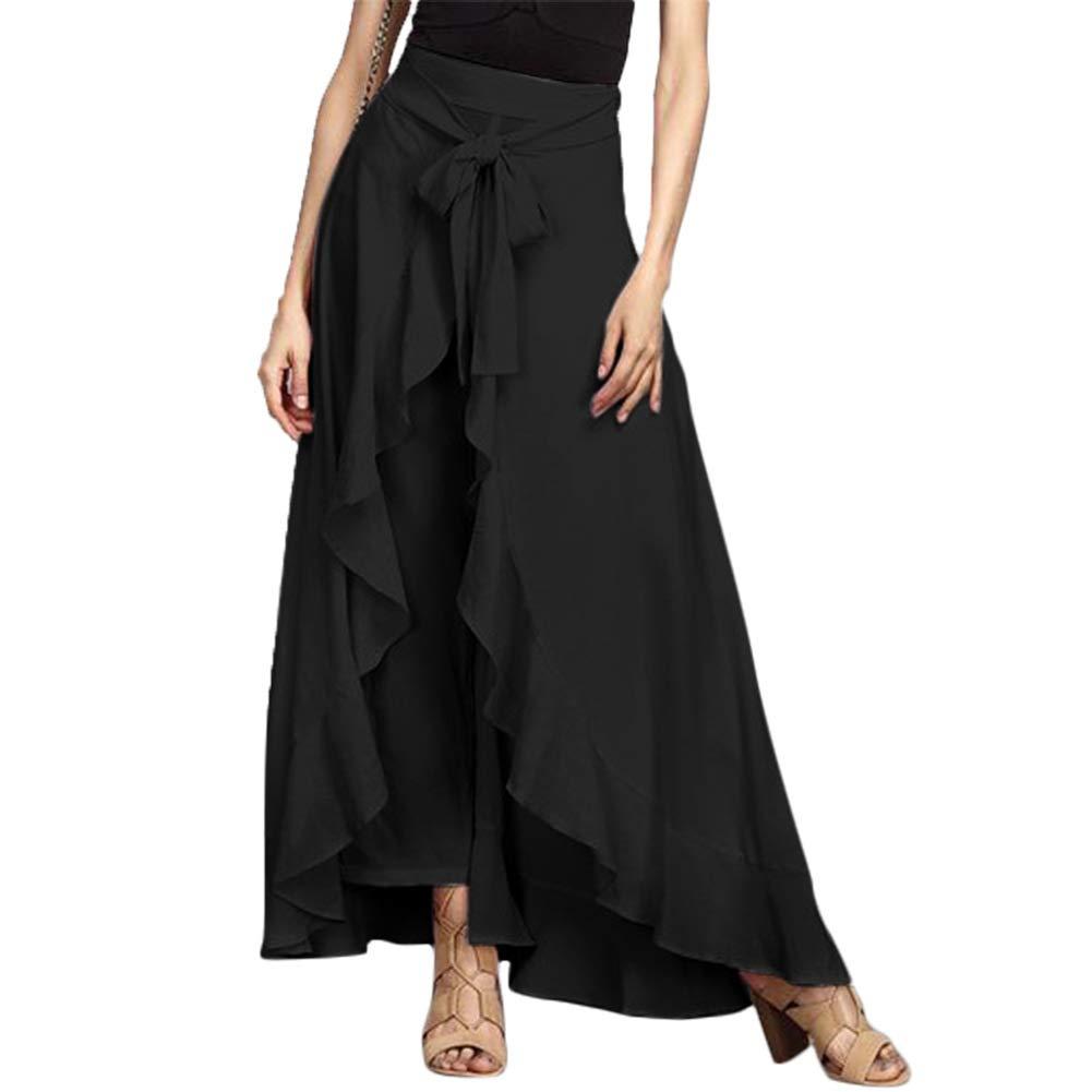 dwqPA#Pi Women Solid Color Tie Waist Bandage Irregular Ruffle Palazzo Pants Party Maxi Skirt Black M