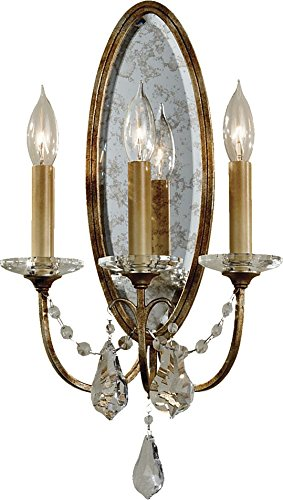 Feiss WB1543OBZ Valentina Crystal Wall Sconce Candle Lighting, Bronze, 3-Light (11