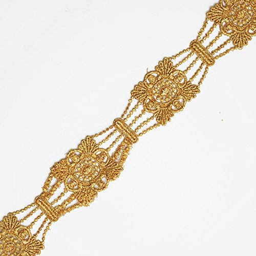 2-Yards Metallic Lace Trim for Bridal, Costume or Jewelry, Crafts and Sewing, 1-1/2 Inch, LP-MX-2601 (Gold)