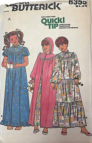 Hooded Robe Costume Pattern (Butterick 6355 Vintage 1970s Girls Nightgown Hooded Robe Pattern Sz7-10)