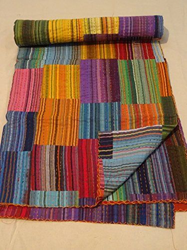 Tribal Asian Textiles Indian Ikat Kantha Quilt Embroidered Bedspread Throw Gudri Queen -