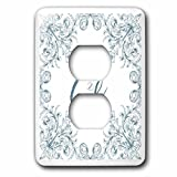 3dRose Uta Naumann Personal Monogram Initials - Letter G Personal Luxury Vintage Glitter Monogram-Personalized Initial - Light Switch Covers - 2 plug outlet cover (lsp_275306_6)
