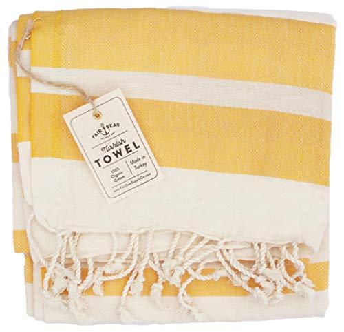 (Fair Seas Supply Co. Turkish Towel, Peshtemal Towel - 100% Organic Turkish Cotton - Quick Dry and Lightweight, 39