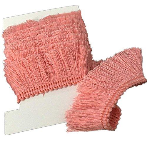 Brush Fabric Fringe - YEQIN 25mm Wide Cotton Fringe Tassel Trim 5 Yards (pink)