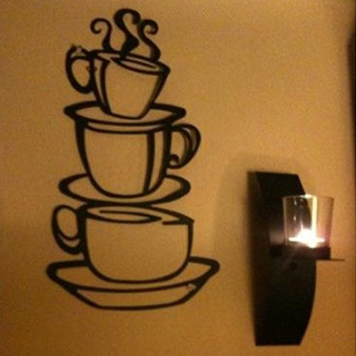 Coffee Cup Mug Design DIY Cafe Coffee Wall Decal Stickers Black Vinyl Removable Home Decor for Living Room Coffee Shop Dining Room Kitchen Decorations Art Murals