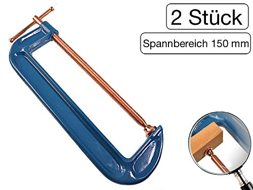 2 St/ück Profi C-Schraubzwinge 150mm robust Stahl-Gewinde verkupfert gegen Schwei/ßperlenbesatz