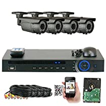 GW Security 1080P HD-CVI 4 Channel Video Security Camera System - Four 2MP Weatherproof 2.8-12mm Varifocal Zoom Bullet Cameras, 64-IR LED 180ft Night Vision, Pre-Installed 1TB Hard Drive