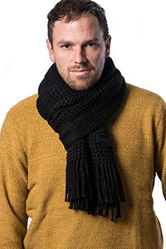 (Mio Marino Mens Knitted Scarf - Winter Scarfs for Men - Ribbed Knit Mens Scarves - Black -)