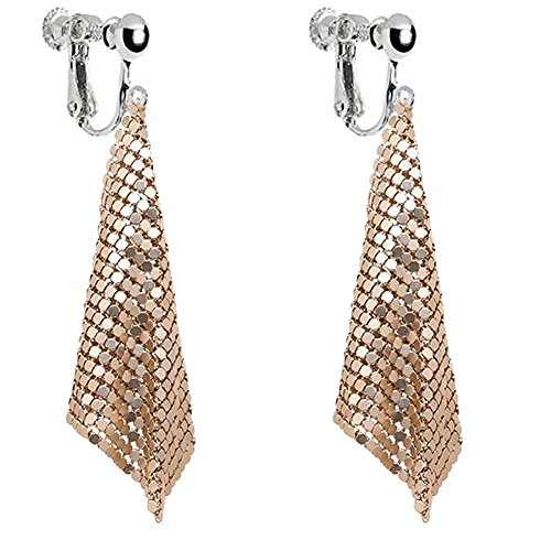 Personalized Rectangle Clip on Dangle Earrings Screw Back Art Deco Gold Crystal for Kids Girls Women ()