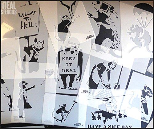 S// 17X22.5CM semi-transparent Schablone Banksy Fallen Angel Replik Schablone wiederverwendbar /& Kunst Handwerk Malerei Schablone
