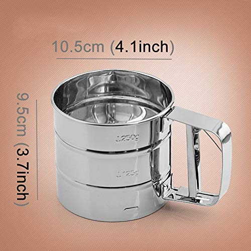 LZSUS Manual Mesh Flour Sugar Powder Stainless Steel Hand Sifter Sieve Cup Baking Tool