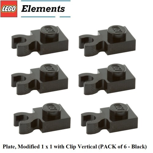 Lego Parts: Plate, Modified 1 x 1 with Clip Vertical (PACK of 6 - Black)