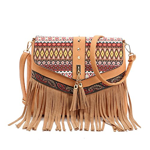 Purse Pu Handbag Leather Tassels Cross New Satchel Girls Women Messenger Shopper Ladies Flyfish Cute Fashion Small Shoulder Body Rivets Brown Bag Casual Trendy nY4Ov7wq