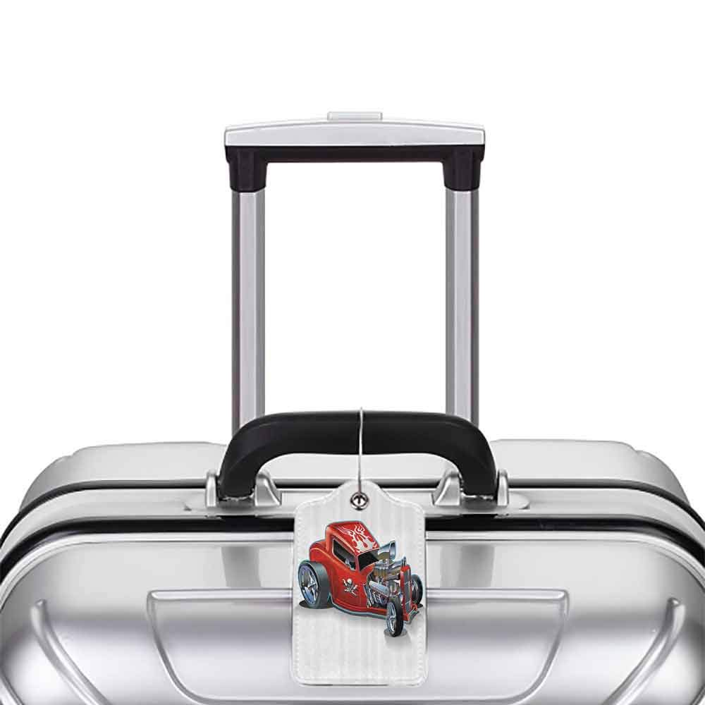 Decorative luggage tag Cartoon Race Car Engine Speedy Dangeous Full of Adrenaline Pilot Image Artwork Suitable for travel Scarlet Red and Silver W2.7 x L4.6