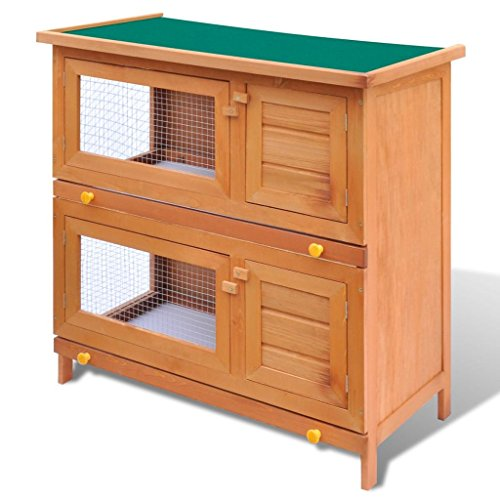"vidaXL 36"" Wooden Rabbit Hutch Bunny Cage Small Animal House Hen Poultry Cage 4 Doors"