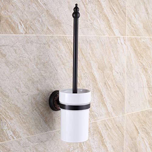 LUDSUY Antique Long-Handled Toilet Brush Holder Bathroom Toilet Toilet Cleaning Toilet Cup Holder Cup Black Mediterranean