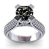 RINGJEWEL 3.40 ct VVS1 Round Moissanite Solitaire Silver Plated Engagement Ring Brown White Color Size 7
