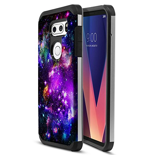 LG V30 6 inch Case, Fincibo (TM) Dual Layer Hard Back Hybrid Protector Cover Anti Shock TPU Silicone Skin, Purple Marvel Nebula Galaxy