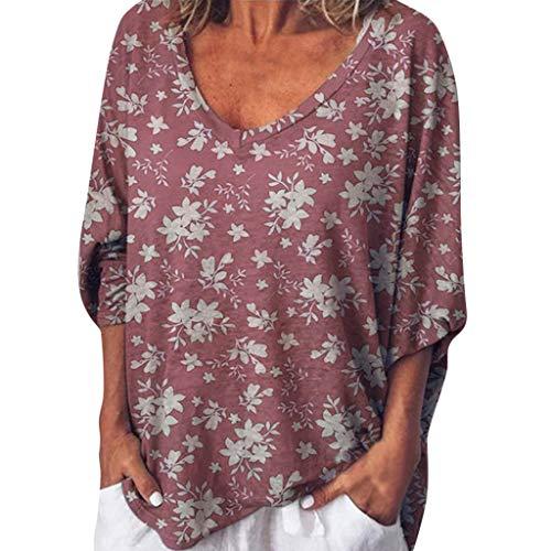 〓COOlCCI〓Women's Tops, Tees & Blouses,Women's 3/4 Sleeve Floral V Neck Jacquard Blouses Top T-Shirt, Tunic Tops Wine