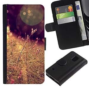 KingStore / Leather Etui en cuir / Samsung Galaxy S5 V SM-G900 / Sun campo del heno Marrón Cálido