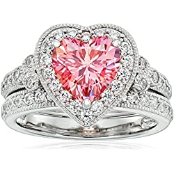 Platinum-Plated Sterling Silver Swarovski Zirconia Fancy Pink Heart Antique Ring, Valentine's Day gift