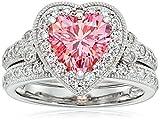 Platinum-Plated Sterling Silver Swarovski Zirconia Fancy Pink Heart Antique Ring, Size 8