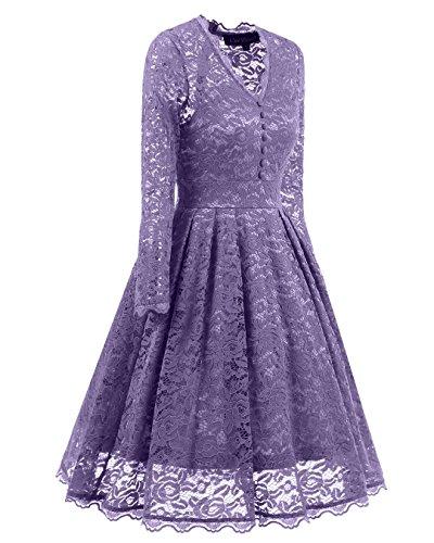 Violet soire lgante de Vintage S BEIJG bal Robe Femme dentelle Knielanges Robe de de 50s cocktail en Robe XXL gZAWqWUntw