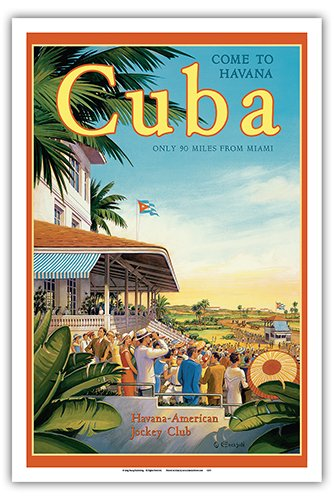 - Pacifica Island Art Come to Havana, Cuba - Oriental Park Racetrack, Marianao - Havana-American Jockey Club - Vintage Style World Travel Poster by Kerne Erickson - Master Art Print - 12 x 18in