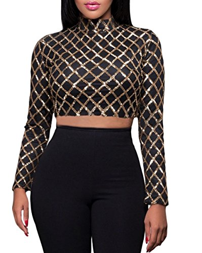 IF FEEL Women's Sexy Black Gold Diamond Sequin Long Sleeves Crop Top (L, Black) (Quirky Fancy Dress Ideas)