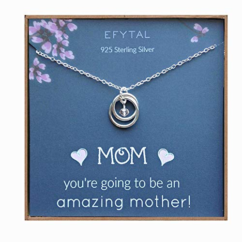 EFYTAL Baby Shower Gift, Sterling Silver Pregnancy Necklace for Expecting New Mom, Pregnant Mother To Be Jewelry]()