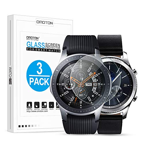 OMOTON Tempered Glass Screen Protector Compatible Samsung Gear S3/ Galaxy Watch 46mm [3 Pack] (Protector Screen Crystal)