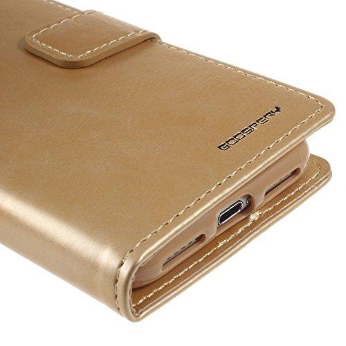 MERCURY GOOSPERY für iPhone 7 4.7 Blue Moon Wallet Leather Phone case - Tasche Hüllen Schutzhülle - Gold