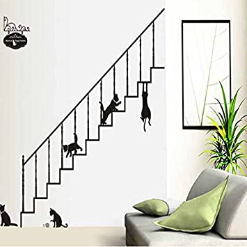 iTemer Pegatinas pared decorativas Vinilos decorativos pared dormitorio Stickers Decoracion pared Un hermoso regalo Escaleras Gatito Negro 60 * 90cm: Amazon.es: Bricolaje y herramientas