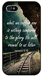 iPhone 5C Bible Verse - What we suffer now is nothing compared to the glory He will reveal to us later. Romans 8:18. Railroad tracks - black plastic case / Verses, Inspirational and Motivational