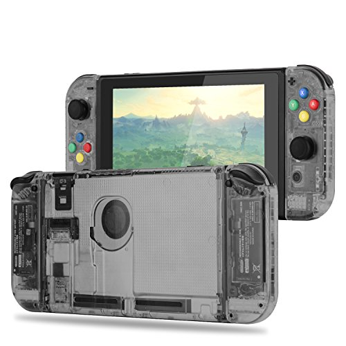 BASSTOP [Update Version] DIY Replacement Housing Shell Case Set for Switch NS NX Console and Right Left Switch Joy-Con Controller Without Electronics (Set-Smoke Black) from BASSTOP