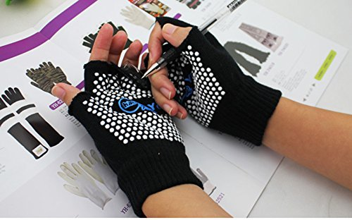 Blackcell Black Color Fingerless Exercise Non Slip Yoga Pilates Gloves with White Silicone Dots (black)