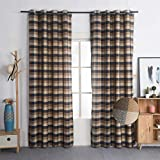 Nauxcen 100% Cotton Plaid Curtains 52 X 96 Inch 2 Panels Chocolate Dk Blue Grommet Curtains for Bedroom Living Room Review