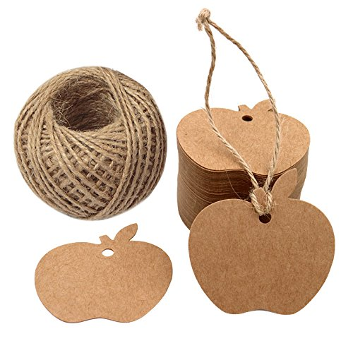 Apple Tags,Christmas Gift Tags,KINGLAKE 100 Pcs Brown Kraft Paper Blank Gift Tags with 100 Feet Jute Twine