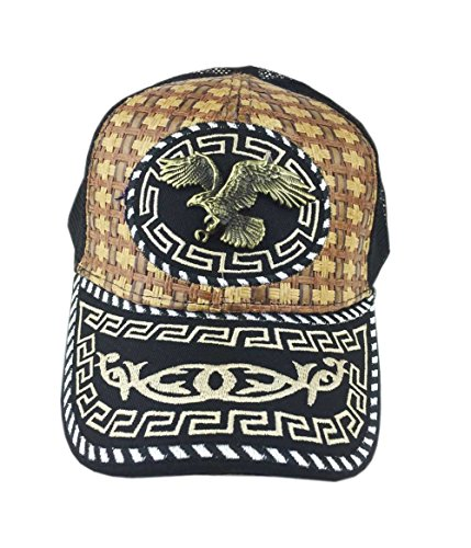 Aesthetinc Bronzed Metal Soaring Eagle Design Straw Trucker Hat Cap (Black) (Soaring Eagle Embroidery)