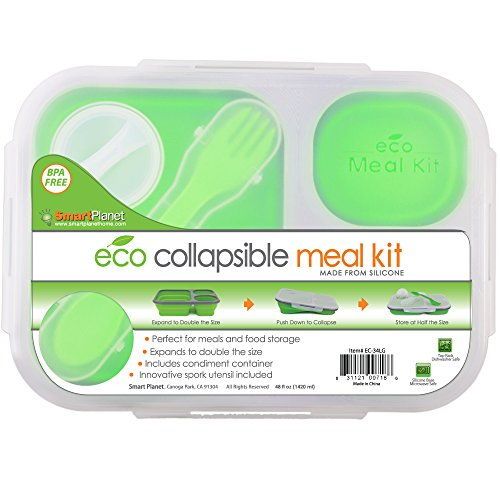 Smart Box Food - Smart Planet EC-34 Large 3-Compartment Eco Silicone Collapsible Meak Kit Lunch Box, Green