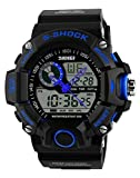 USWAT Men's Quartz Digital Watch Men Sports Watches Relogio Masculino Relojes LED Military Waterproof Wristwatches (Blue)