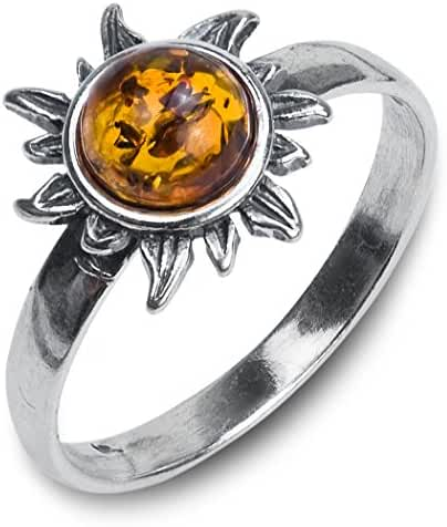 Honey Amber Sterling Silver Sun Small Ring Sizes 4,5,6,7,8,9,10,11,12